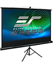 Elite Screens Tripod, 92-inch, Adjustable Multi Aspect Ratio Portable Pull Up Projection Projector Screen, T92UWH