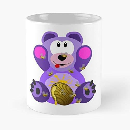 Teddybear Teddy Purple Honey - Coffee Mugs Unique Ceramic Novelty Cup Best - Honey Purple Personalized