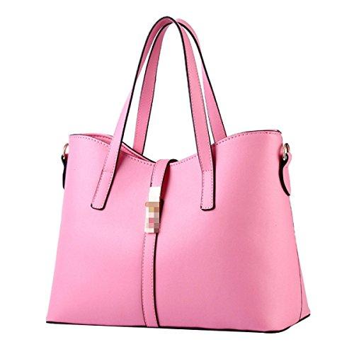 Bolso De Hombro Crossbody Del Bolso De Cuero De La PU De Las Mujeres De La Manera Satchel Multicolor Pink