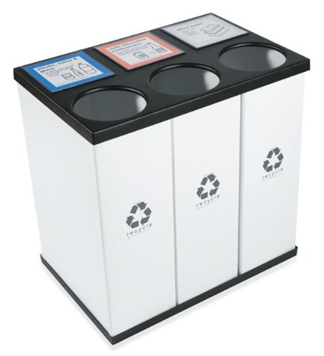 Recycling Bottle (RecycleBoxBin Plastic Light Weight Large Triple Recycling Bin 25 Gallon Each with Changeable Label System, Holds upto 33-39 Gallon Bags)