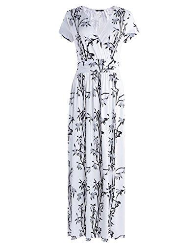 OUGES Women's V-Neck Pattern Pocket Maxi Long Dress(Floral-01,XXL)