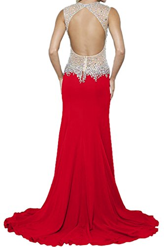 V ressing Elegante noche vestido fiesta recorte vestido Prom vestido ivyd de de piedras para fijo Rojo Ranura rueckenfrei Mujer largo wtFq1Ed