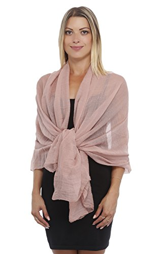 Light Weight Chiffon Solid Colors Long Evening Wrap Dress Scarves Brown/Pinkish (Made India Scarf In)