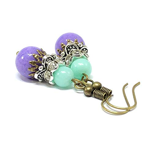 Purple Jade Drop - Bohemian Dangle Earrings for Women Jade Jewelry