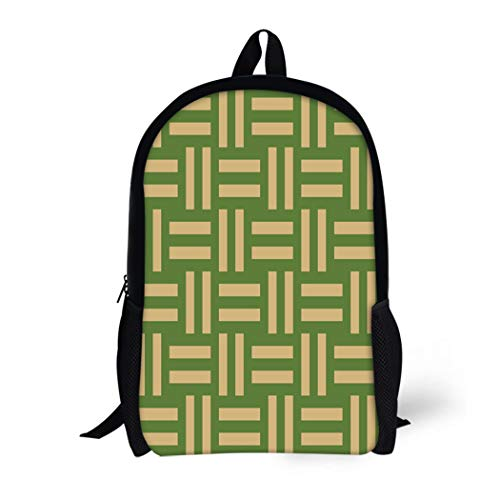 (Pinbeam Backpack Travel Daypack Symmetric Geometric Different Brown Lines Abstract on Green Waterproof School Bag)