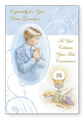 Especially For You Dear Grandson First Holy Communion Card Gold