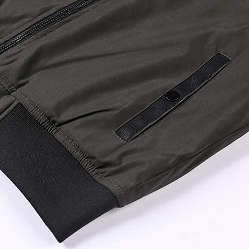 Parka Men's Fashion Hommes Col Fgyyg Loisirs Hiver Montant Baseball Stitching Jacket Manteau Outdoor Épaissir Chaud Leather Noir Pu Mode Veste f1P1qOw
