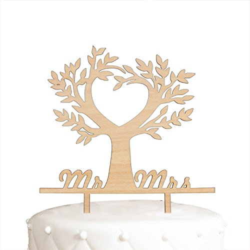 Hatcher lee Mr and Mrs Cake Topper Wood Love Tree Wedding Cake Topper Funny Bride and Groom Cake Topper ()