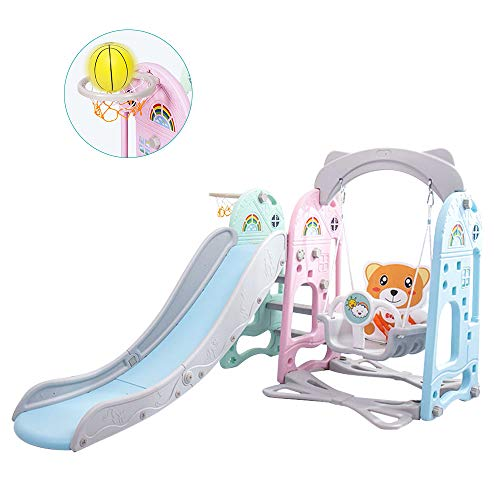 TOUNTLETS 3-in-1 Slide and Swing Set for Toddlers, Play Climber Freestanding Slides Playset for Kids,Indoor Slide for Toddlers Age 3-9 Toy with Basketball Hoop