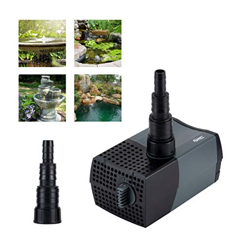 Hygger Submersible Water Pump, Amphibian Water Garden Pond Pump with 6ft Power Cord 2 Nozzles for Aquarium Fish Tank, Pond, Fountain, Hydroponics, Water Feature, Statuary (19W,370GPH,Max Head 4.9ft)