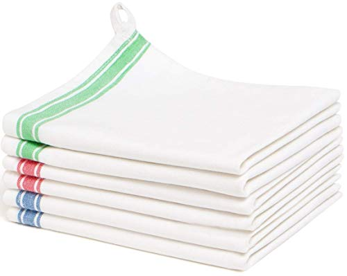 Liliane Collection Multi 6 Kitchen (18x28) -100% Cotton-Vintage Design with Two Colorful Side Stripes. Classic Dish Set Includes 2 Red Green 2 Blue Towels. Absorbent with Hanging L, 18