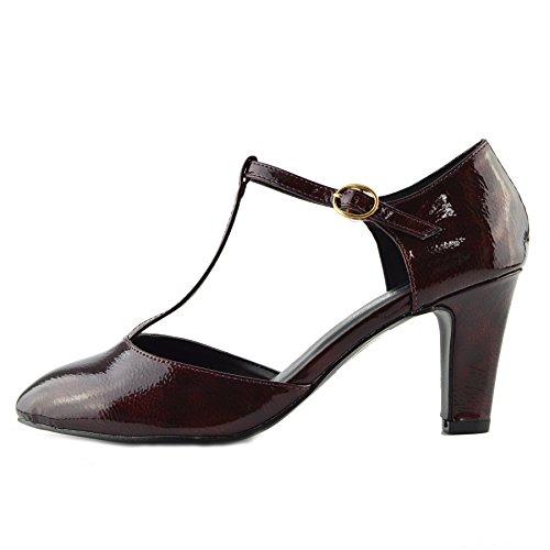 Kick Footwear - Womens Block Heeled Office Formal Work Dolly Strap Black Shoes Burgundy Patent