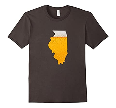 Mens I Love Beer Map of Illinois State Flag Map Tshirt Gifts 3XL Asphalt