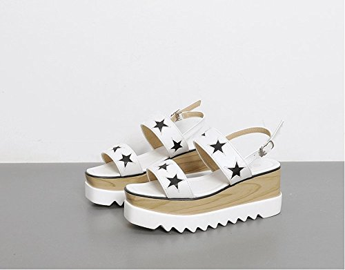 Xing Lin Sandalias De Mujer Zapato De Verano De Verano De Mujeres Nuevas Y Versátiles Pendiente Con Una Palabra Con Sandalias De Tacón white