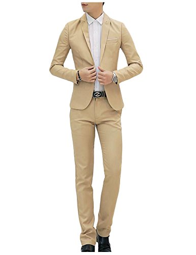 One Suit Men Button (Bestgift Men's Solid Color Slim One-Button Tops Blazer and Long Pants 2-Pieces Suits Khaki XL)