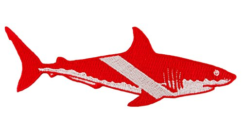 Scuba Patch - Great White Shark Diver Down Flag Patch Embroidered Iron On Scuba Diving Emblem Souvenir