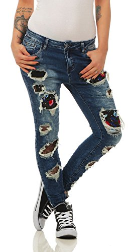 Fashion4Young - Jeans - Femme Turquoise turquoise M = 40 bleu fonc