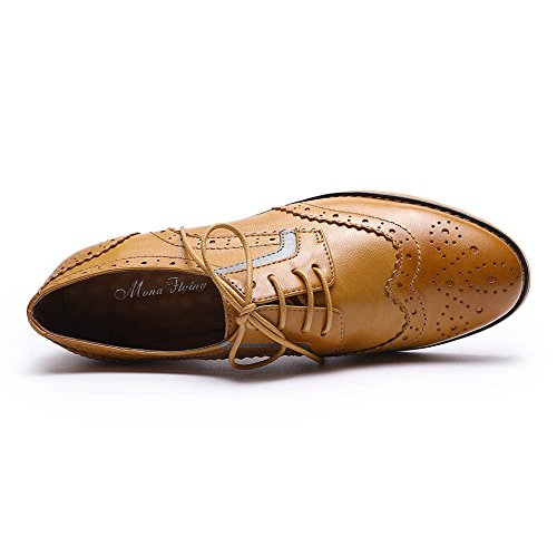 Pictures of Mona Flying Women's Leather Perforated Lace-up Oxfords Shoes for Women Wingtip Multicolor Brougue Shoes 7