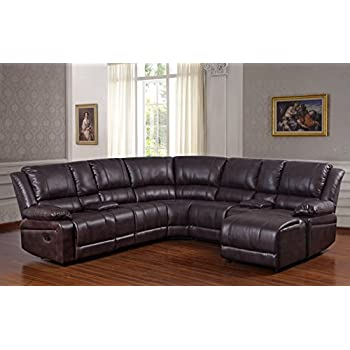 UFE Robinson Sectional Sofa with Recliner Chaise Console w/Cup Holders Bubble Leather Brown  sc 1 st  Amazon.com : recliner chaise - Sectionals, Sofas & Couches