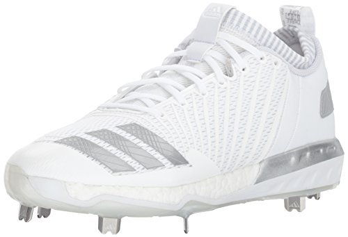 adidas Men's Freak X Carbon Mid Baseball Shoe, White/Metallic Silver/Light Grey, 10.5 Medium US by adidas
