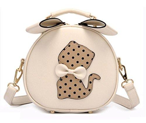 Handbag Cat Crossbody Bag White PU for Purse Satchel Small Girls Katoony Shoulder Leather Messenger A Women Bag Iwav7ZX