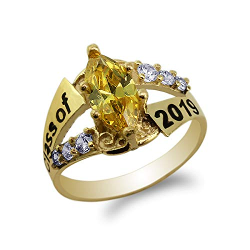 14K Yellow Gold Graduation Class of 2019 School Ring with 1.25ct Yellow Marquise CZ Size 8.5
