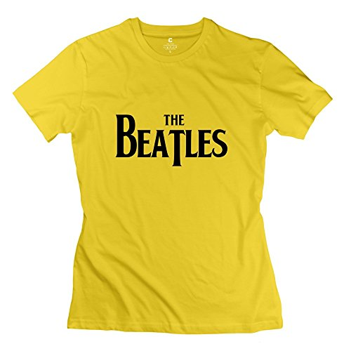 StaBe Woman's The Beatles Logo T-Shirt Slim Fit Vintage XL Yellow