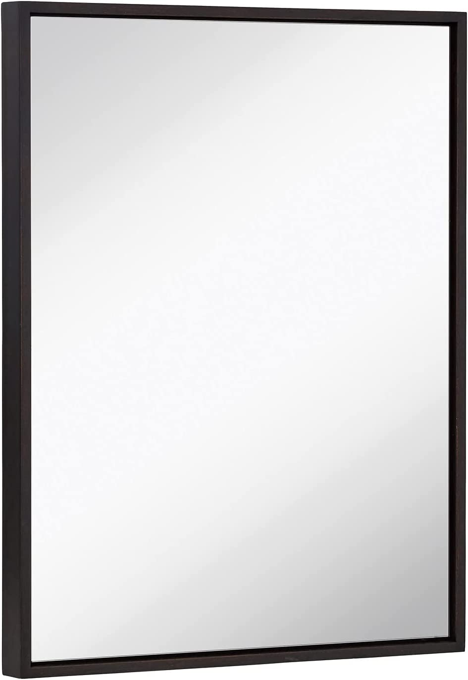 Hamilton Hills Clean Large Modern Black Frame Wall Mirror | Contemporary Premium Silver Backed Floating Glass Panel Vanity or Bathroom Mirrored Rectangle Hangs Horizontal or Vertical 22