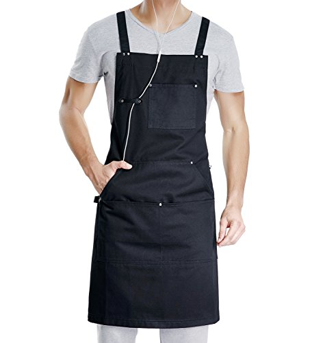 VANRICH LDG Cooking Apron for Men Women,Professional for Kitchen BBQ Grill,Bib Chef Design with Tool Pockets+Quick Release Buckle+Towel Loop,Durable Black Cotton,Plus Size Adjustable M to XXL