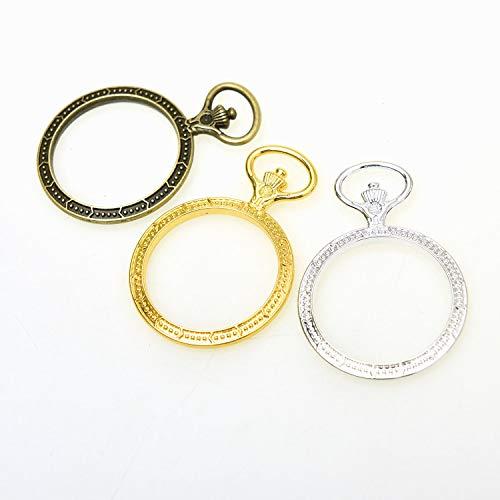 (Monrocco Open Bezels Charms 3 Color Double Side Pocket Watch Design Vintage Open Back Bezel Pendants Hollow Mold Pendants, 45x35mm)