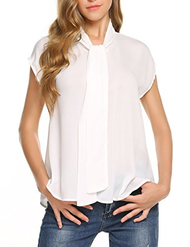Concep Bow Neck Blouse Junior Polyester Short Sleeve Chiffon Tops Tunic (White, (White Short Sleeve Blouse)