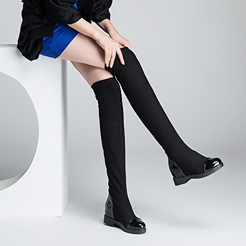 Abby 1516 Vrouwen Vrije Tijd Hoge Top Innerlijke Toename Wig Lage Hak Ademend Elastisch Lint Over De Knie Moderne Danslaars Zwart-a