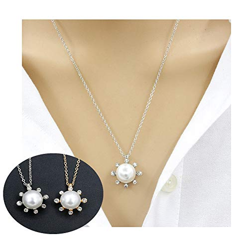 Dwcly Fashion Gold Silver Opal Sun Sunflower Pendant Charm Necklace for Women (Gold - Sun Charm Flaming