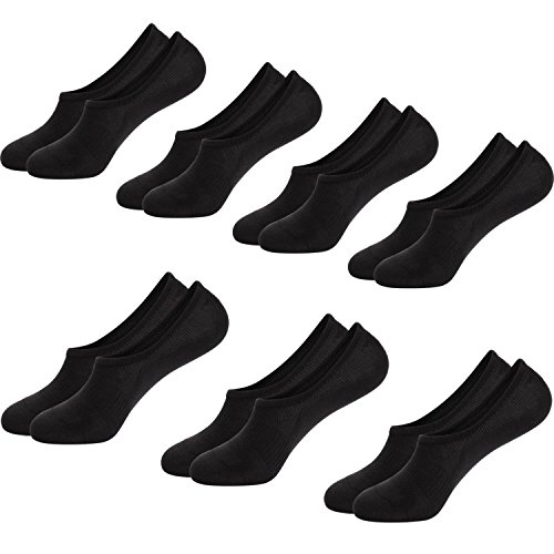 No Show Socks Mens Non Slip Low Cut Invisible Ankle Sock Pack 7 Pairs Boat Liner 6-12 (7Black)