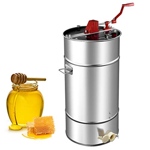 Goplus Manual 2 Frame Honey Extractor Stainless Steel Honey Separator Pro Extraction Beekeeping Equipment