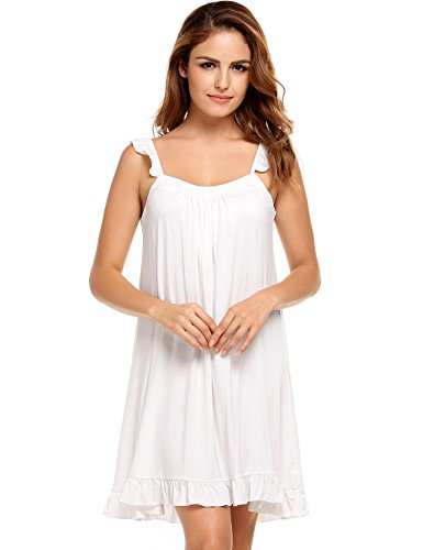 Ekouaer Womens Luxury Modal Nightgown Comfort Chemise Full Slip Under Dress (White, L) (Cotton White Chemise)