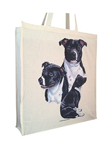 and Perfect Group Bag Shopping Long with Staffordshire Handles Gift Cotton Bull Gusset Terrier n8XwqPwRF