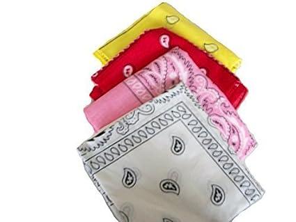6807c2416720 Bandana Lot de 4 bandanas Motif cachemire rouge jaune rose. blanc rapide  Post