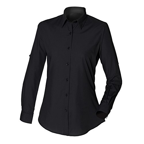 Skinni Fit Womens/Ladies Long Line Fitted Shirt (S) (Black)