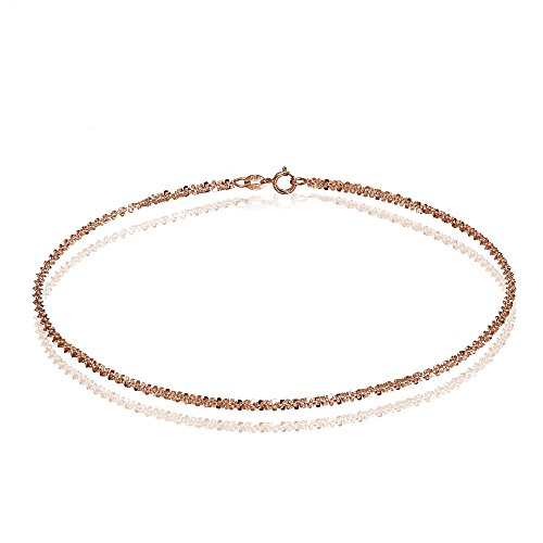 14K Rose Gold 1.3 Rock Rope Italian Chain Anklet, 9 Inches by Bria Lou