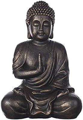 Buda b4017 Bronce, para interior y exterior, Figura de Buda XL 43 cm de alto, Buda