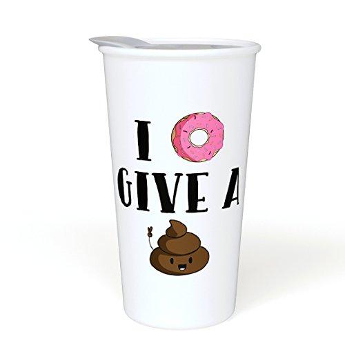 (I Donut Give a Sht Funny Ceramic Coffee Travel Mug 12 oz. With Sealed BPA Free Lid, Poop Emoji - Dishwasher and Microwave Safe - Funny Novelty Travel Mug - Double Sided Printed Funny Saying)