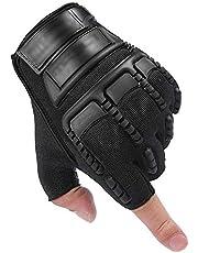 قفازات نصف إصبع للرجال مريحة ومسامية متينة ملحق رياضي أسود