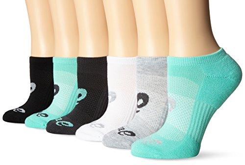 ASICS Invasion No Show Socks (6-Pack), Small, Aqua Mint Assorted