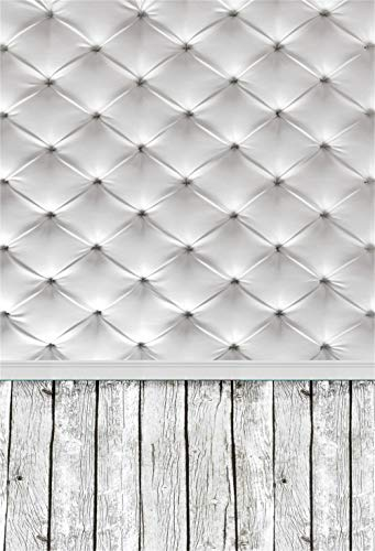- LFEEY 3x5ft Headboard Upholstered White Tufted Photo Background Wood Floor Portrait Photography Backdrop for Kids Children Newborn Baby Photography Props