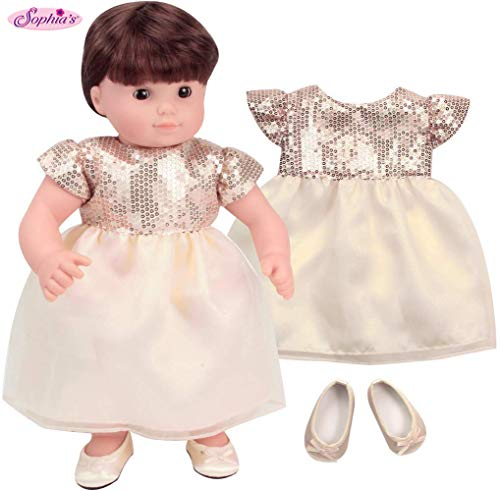 Sophia's 15 Inch Baby Doll Special Occasion Dress Yellow Toned Ivory and Gold Sequin Dress with Matching Shoes fits 15 Inch Bitty Baby Dolls