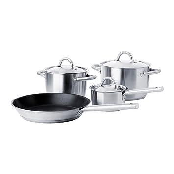 IKEA 365+ - 7 piezas juego de ollas de acero inoxidable: Amazon.es: Hogar
