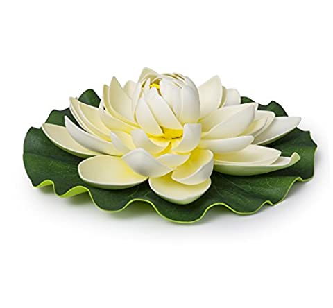 Best Floating Flowers of 4 for Weddings - Pools - Holidays - Aquarium - Wedding Decorations - Hot Tubs - Extra Large - 11 Inch Each - Plastic Lily Tub