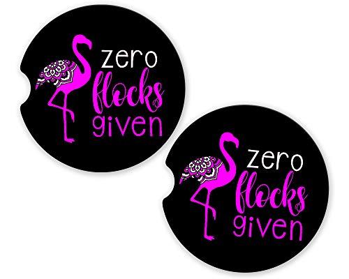 - BrownInnovativeMedia Pink Flamingo Zero Flocks Custom Car Cup Holder Matching Coaster Set