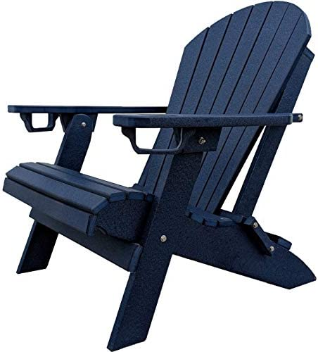 DuraWeather Poly Folding Adirondack – Unwind Edition Featuring Built-in Cup Holders Nautical Navy